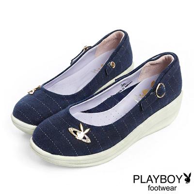 PLAYBOY 高雅品味 GOPLAY條紋厚底娃娃鞋-藍(女)