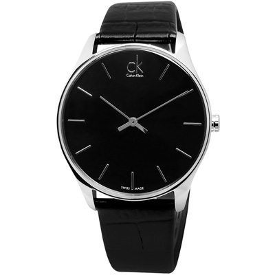 CK Classic 完美簡約時尚皮革腕錶-黑色/ 38 mm