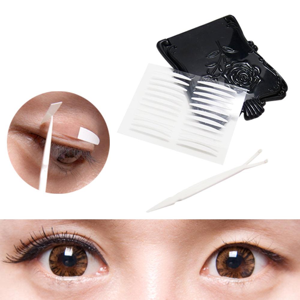 貝禮綺美妝韓國全隱形超強力雙面膠雙眼皮貼泡泡眼寬版2.5mm超值加量154枚入-贈Y型棒