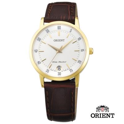 ORIENT 東方錶 SLIM系列 藍寶石鏡面皮帶女錶-白x金色框/31mm