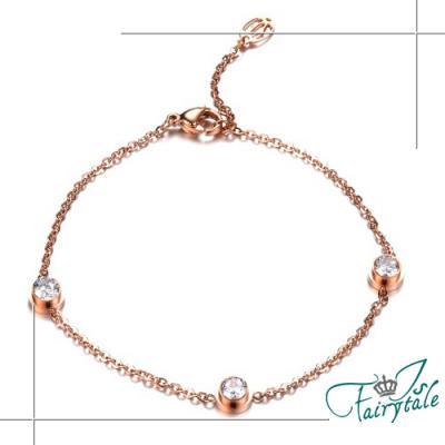 iSFairytale伊飾童話 單鑽鋯石 玫瑰金手鍊