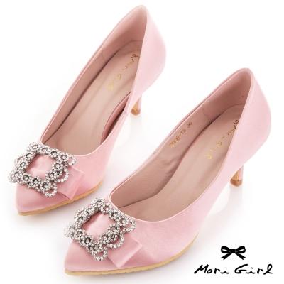 Mori girl 絕美水鑽蝴蝶結緞面中跟婚鞋 粉