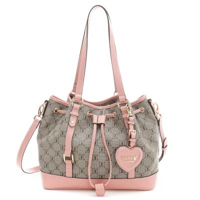 PLAYBOY-Spring-Romance-粉色浪漫系列2WAY水桶包-粉紅色