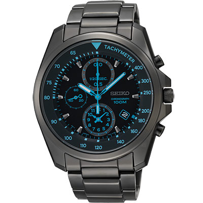 SEIKO 特務保鏢三眼計時腕錶(SNDD67P1)-IP黑/42mm