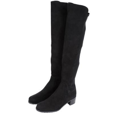 Stuart Weitzman RESERVE 麂皮拼接過膝長靴(黑色)