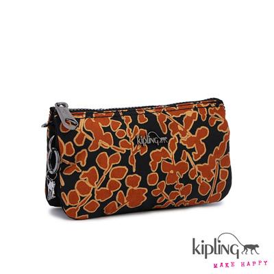 Kipling-手拿零錢包-橘咖啡花卉印花