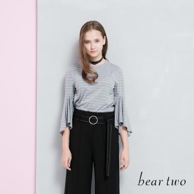 beartwo 百搭條紋荷葉袖造型上衣(三色)-動態show