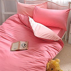 OLIVIA 桃粉 粉紅 單人床包美式枕套兩件組