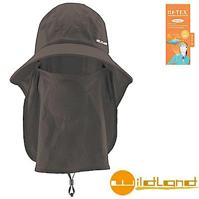 【荒野 WildLand】中性抗UV收納式護頸遮陽帽.防曬帽_深灰