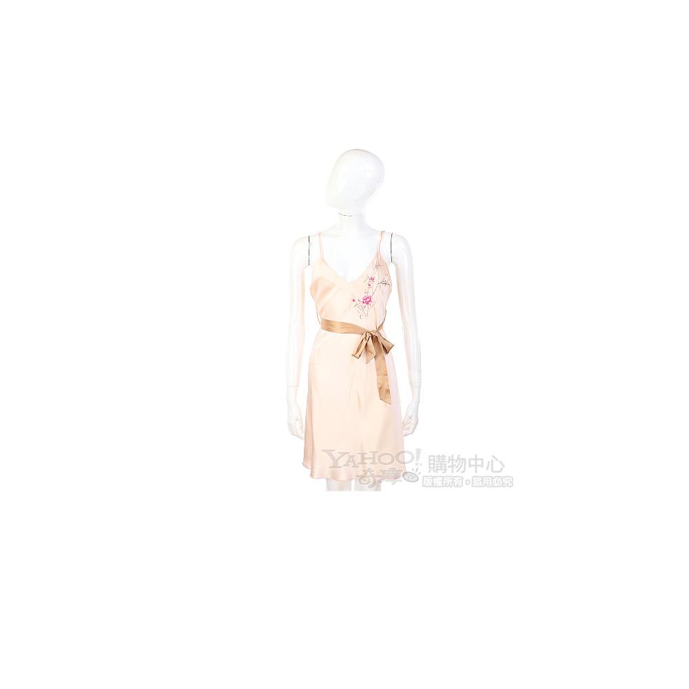 BLUMARINE 粉色緞面繡花綁帶洋裝