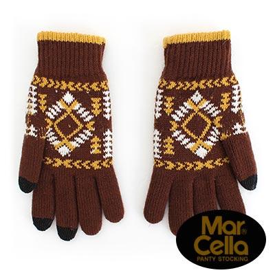 瑪榭 紳士用極暖雙層觸控針織手套(民族咖)