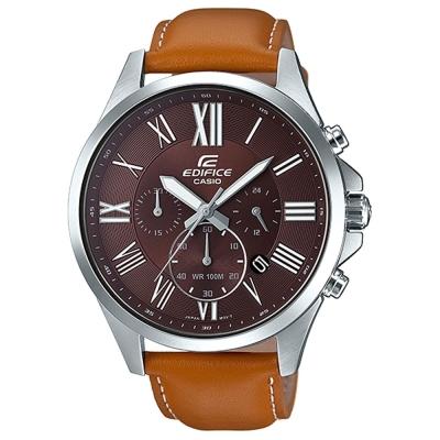 EDIFICE 經典羅馬時刻大錶面時尚皮帶腕錶(EFV-500L-5)咖啡面X卡其48mm