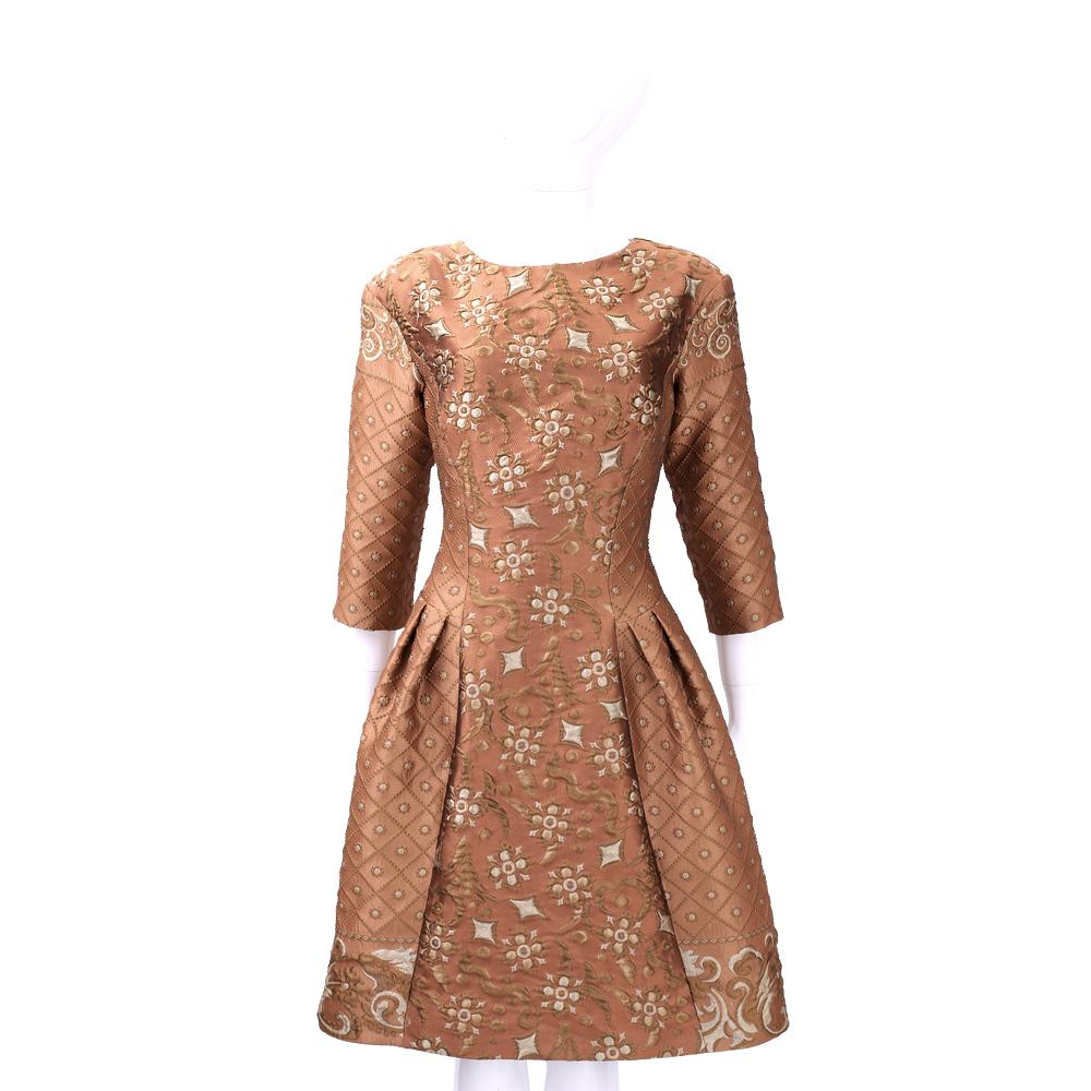 ALBERTA FERRETTI 橘棕色印花刺繡七分袖洋裝