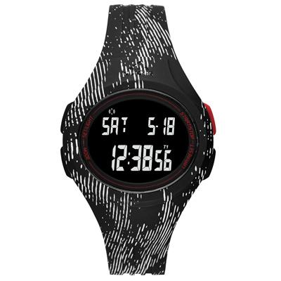 adidas 潮流曲線數位電子腕錶-黑x白印刷紋/42mm
