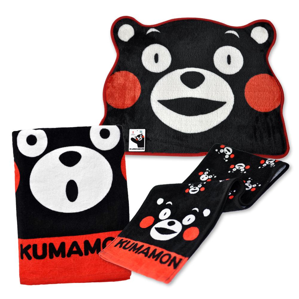 熊厲害團購組 熊本熊印花浴巾+運動巾+造型地墊