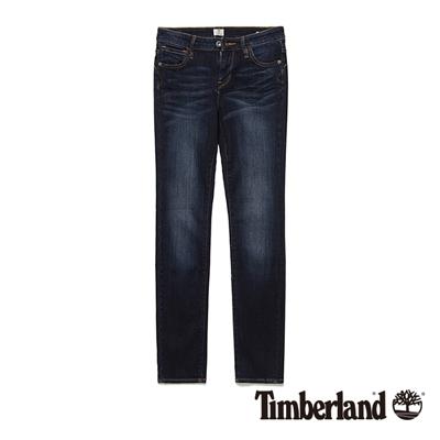 Timberland-女款靛藍色素面窄版牛仔長褲