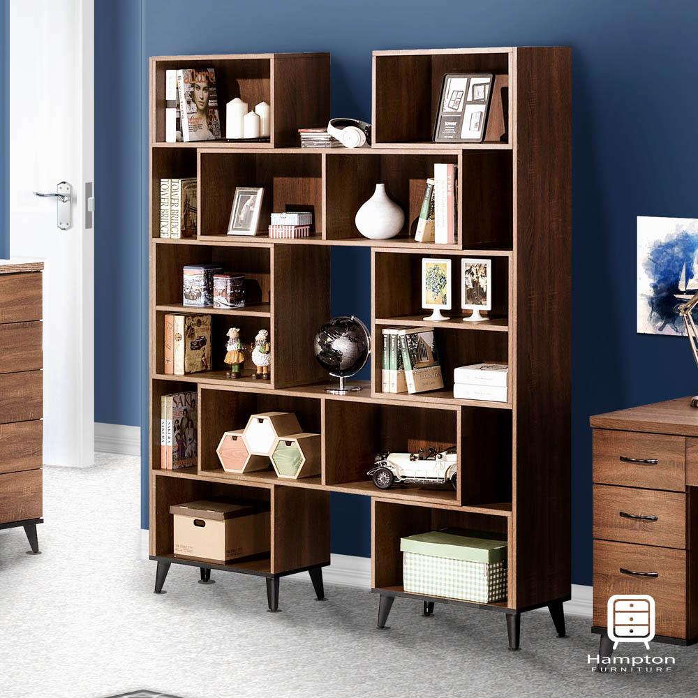 漢妮Hampton麥爾斯系列淺胡桃木伸縮書櫃121x30.3x192.5cm