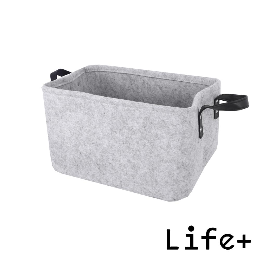 Life+ 自然風素面毛氈收納籃/置物籃 (灰色-M)
