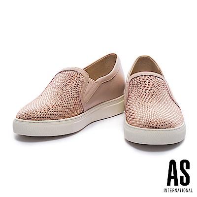 休閒鞋-AS-耀眼奪目異材質拼接漸層排鑽厚底休閒鞋