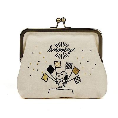 SHO-BI SNOOPY彩色派對系列珠扣式帆布收納包(旗織) @ Y!購物