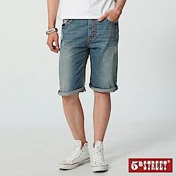 5th STREET 街霸粗線牛仔短褲-男-中古藍