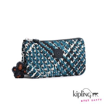Kipling-手拿零錢包-藍白千鳥格印花