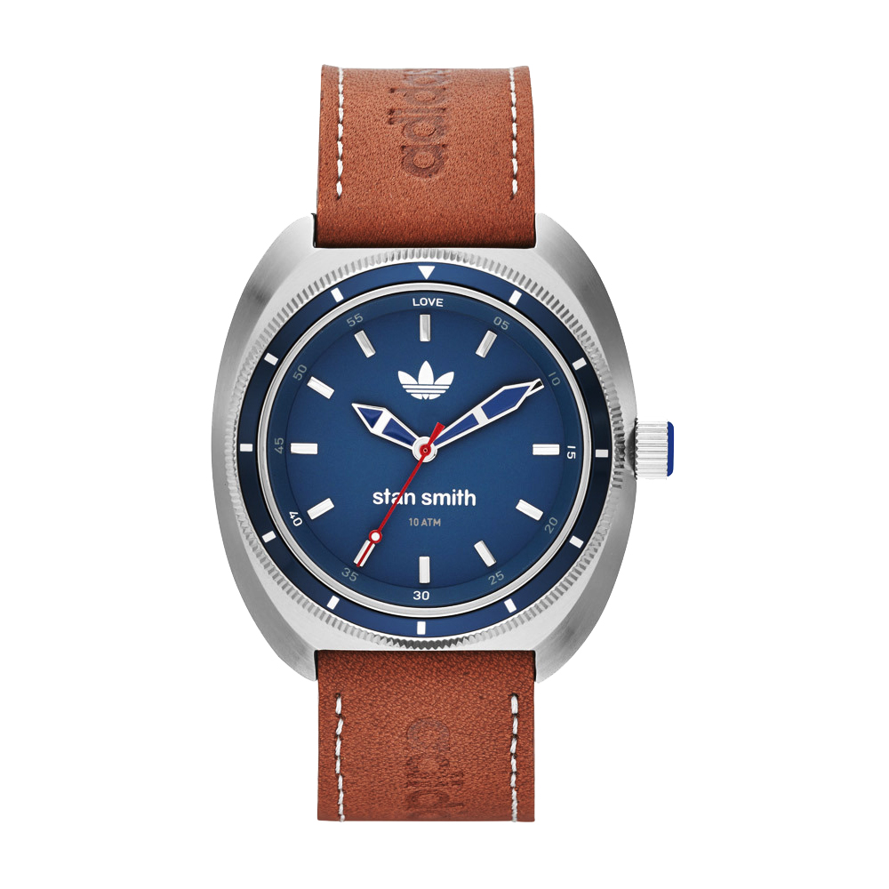 adidas Stan Smith三葉草經典運動時尚腕錶-藍x咖啡42mm