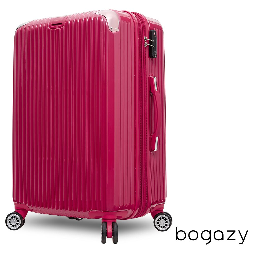 Bogazy 冰封行者 24吋PC可加大鏡面行李箱(桃紅)