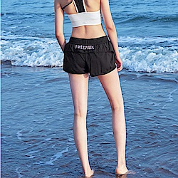 Biki比基尼妮泳衣   後英字速乾泳褲短褲(單褲)