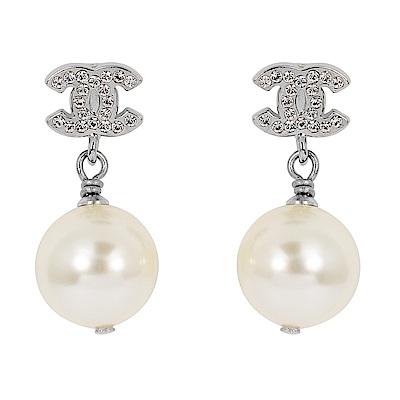 CHANEL香奈兒 經典雙C鑲嵌水鑽珍珠垂墜銀色耳環