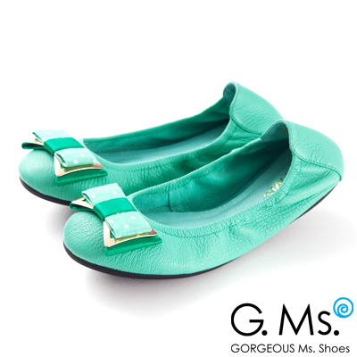 G.Ms.  輕旅行-水玉點點布金屬蝴蝶結折疊旅行鞋-薄荷綠