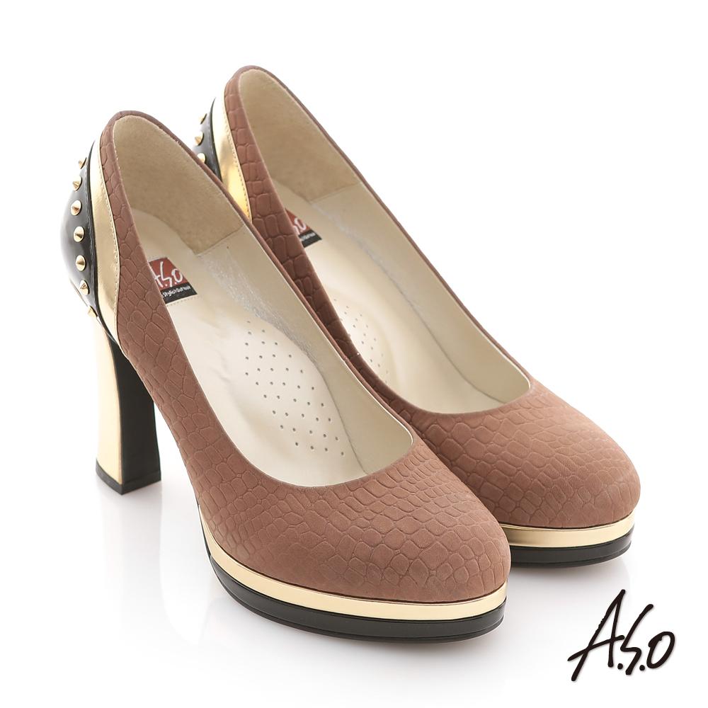 A.S.O 金屬裝飾 全真皮壓紋窩心鉚釘高跟鞋 咖啡