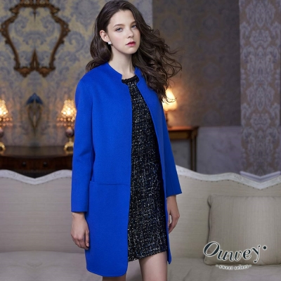 OUWEY歐薇-繭型線條雙面毛料外套-藍