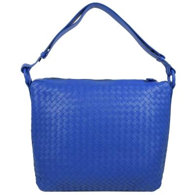 BOTTEGA VENETA 小羊皮編織可調式肩背包.寶藍