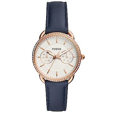 FOSSIL Tailor復古晶鑽雙環真皮手錶(ES4394)-白X玫瑰金框/35mm
