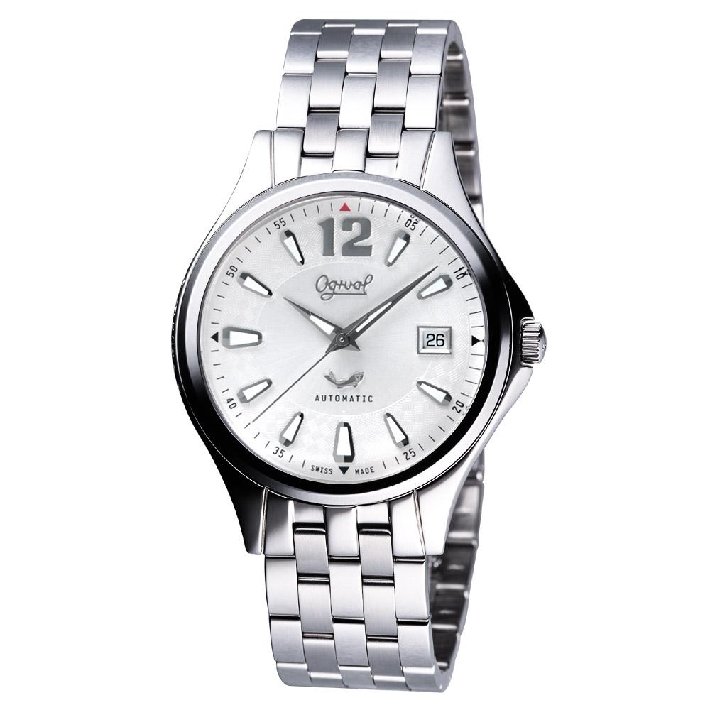 Ogival 經典時刻自動上鍊機械腕錶-銀/40mm