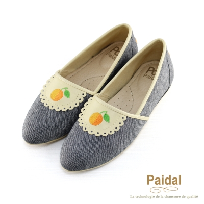 paidal-俏麗小圍裙水果尖頭鞋休閒鞋樂福鞋-灰