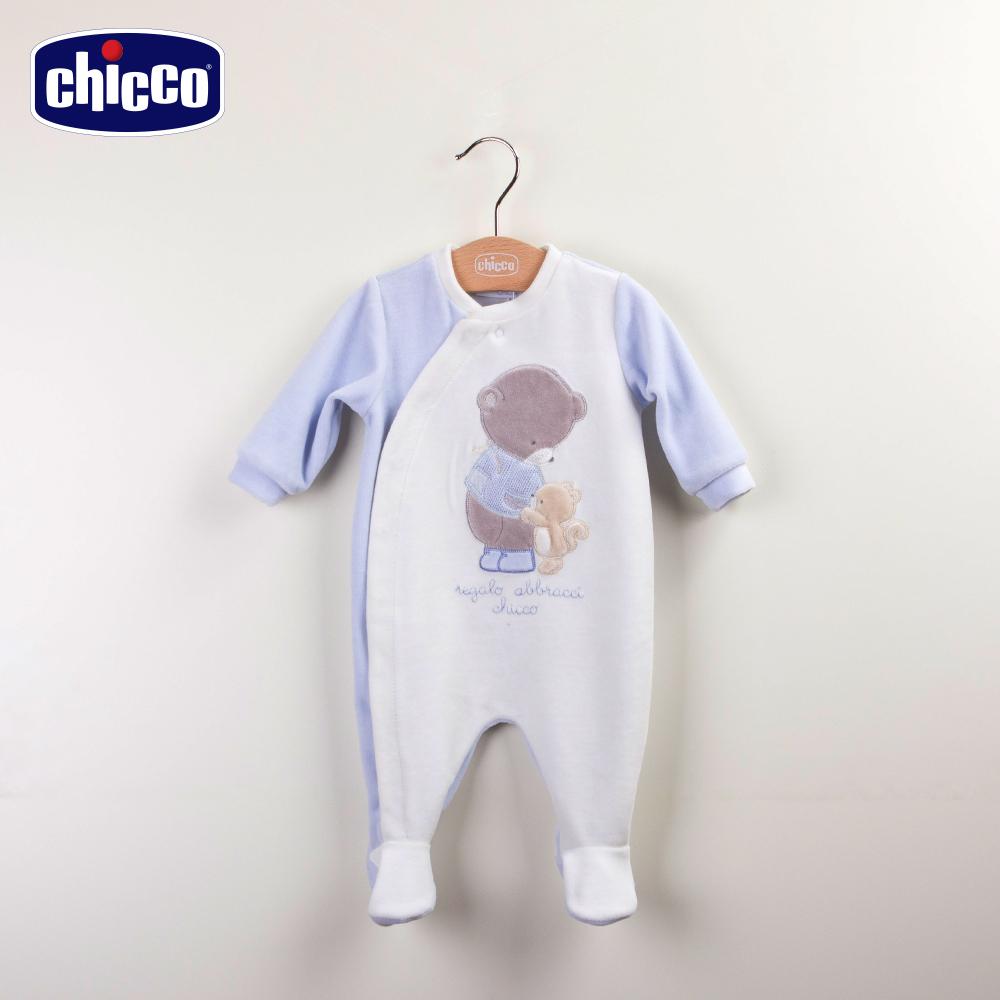 chicco紳士熊前開兔裝-藍(3-12個月)