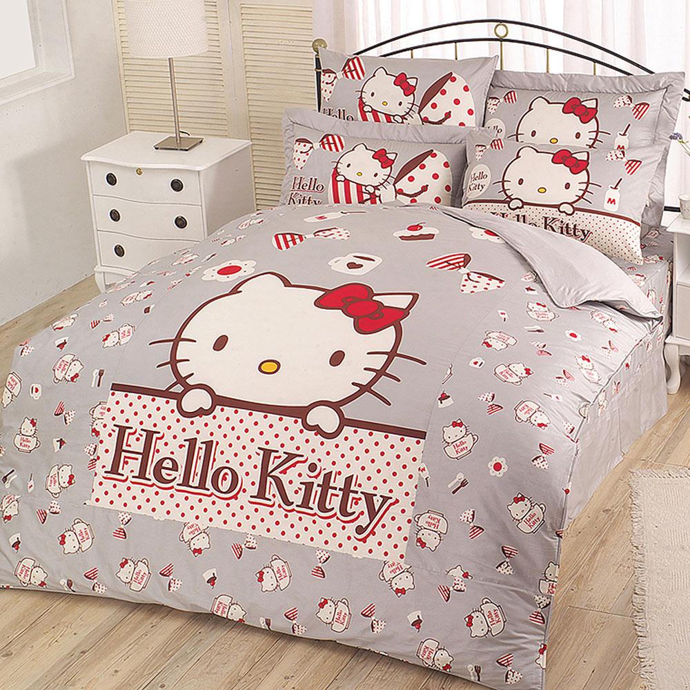 HELLO KITTY 時尚茶點系列-精梳棉單人床包薄被套組(灰.粉)