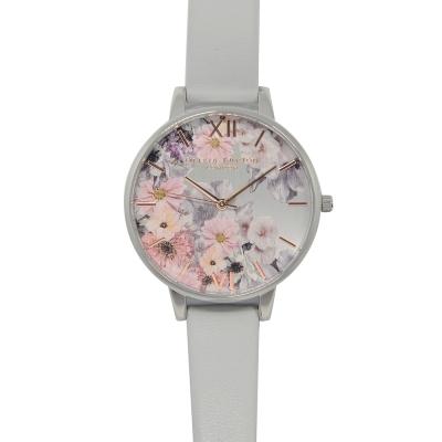 Olivia Burton 英倫復古手錶 魔法花園 灰色環保皮革錶帶 銀錶框 38mm