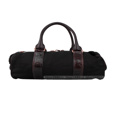 Balenciaga織布手提咖啡黑機車包