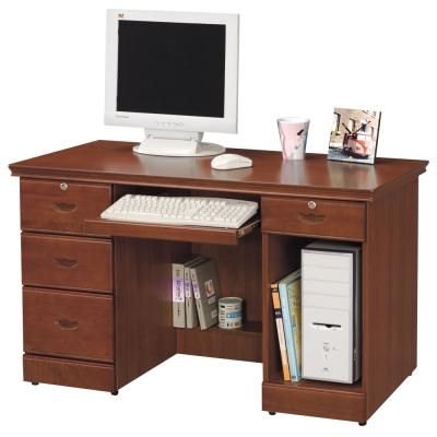 時尚屋 長榮柚木色4.2尺電腦桌 寬127cm
