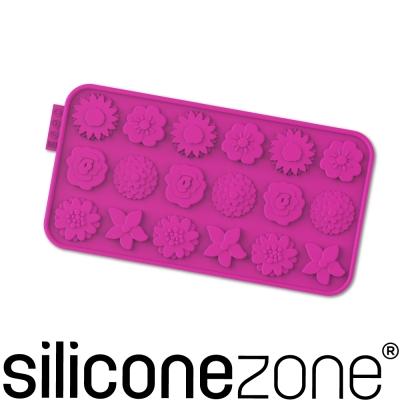 Siliconezone 施理康耐熱矽膠花草巧克力模-桃紅色