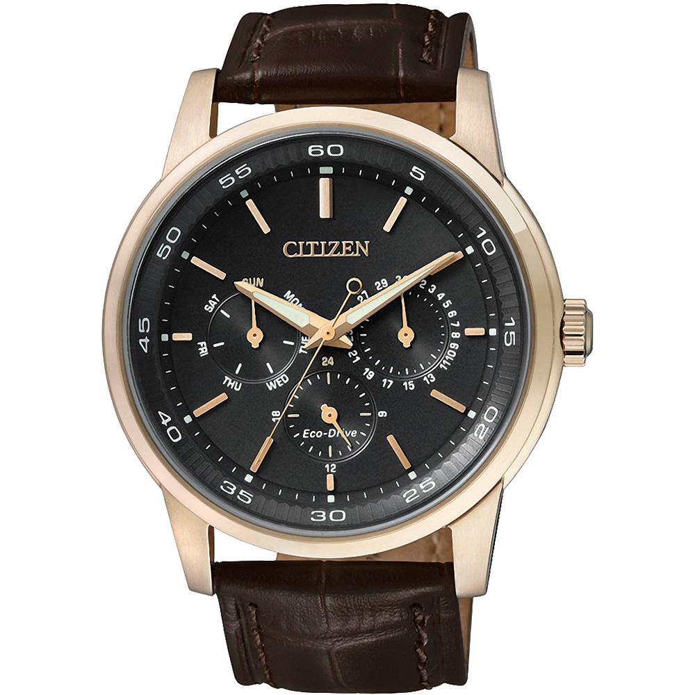 CITIZEN 光動能都會雅緻三眼腕錶(BU2013-08E)-黑x玫瑰金框/43mm
