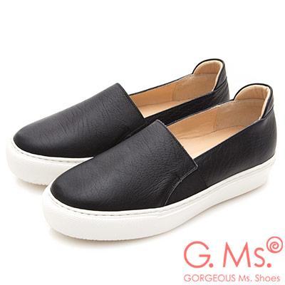 G.Ms. MIT系列-百搭Q彈牛皮素面顯瘦厚底懶人鞋-黑色