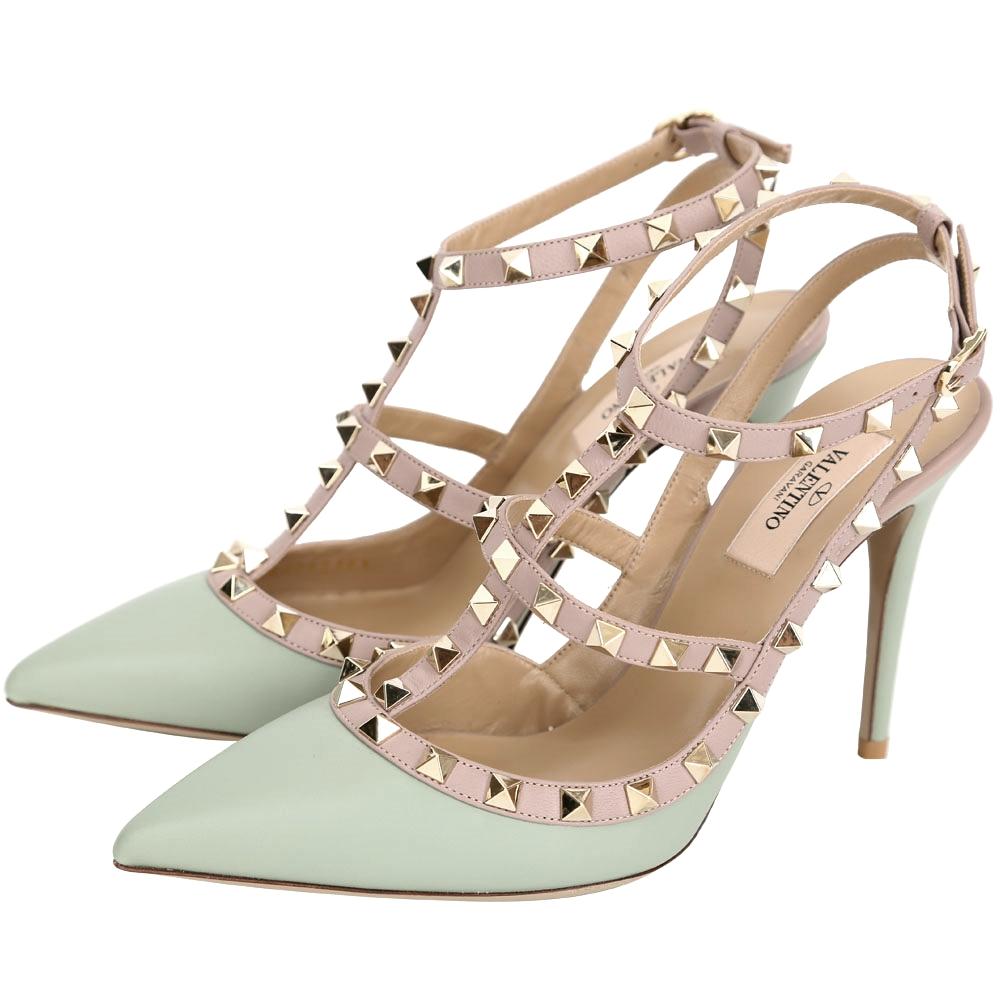VALENTINO ROCKSTUD 鉚釘繫帶尖頭高跟鞋(淺水綠)