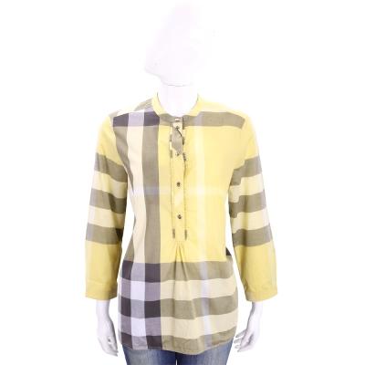 BURBERRY 甘菊黃格紋棉質長袖上衣