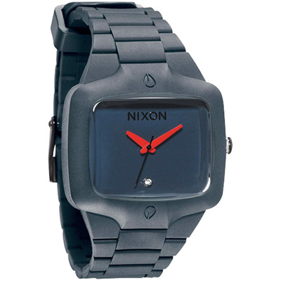 NIXON The Rubber Player鮮色奪人時尚腕-灰藍/45mm