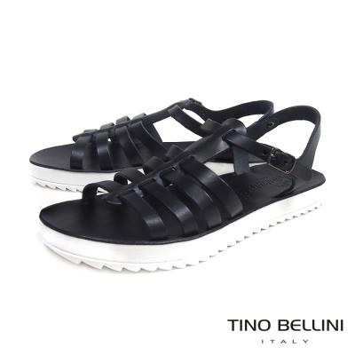 Tino Bellini 希臘進口羅馬休閒平底涼鞋_黑