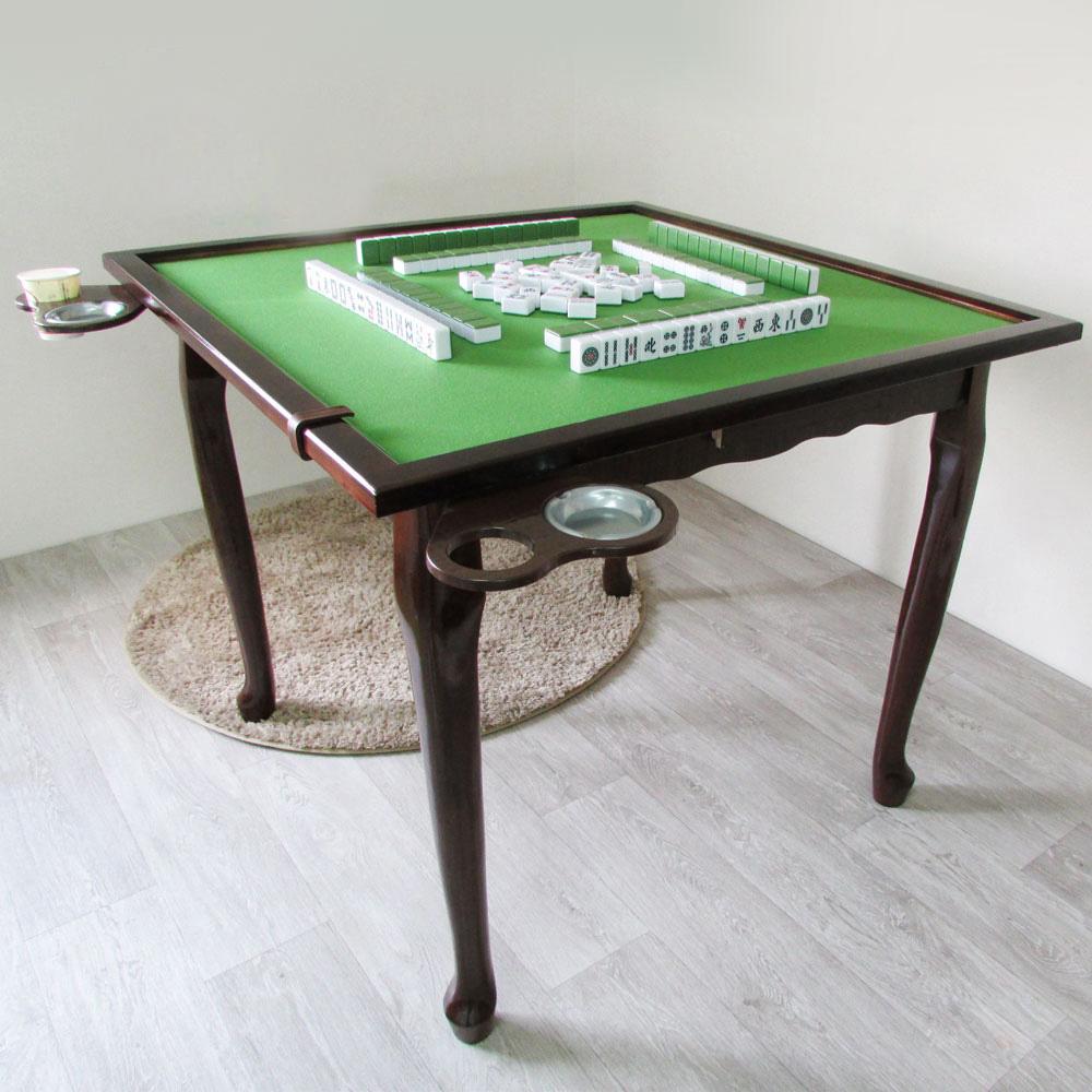 Amos-虎腳波浪機能麻將桌/實木桌-寬90.5x深90.5x高77cm
